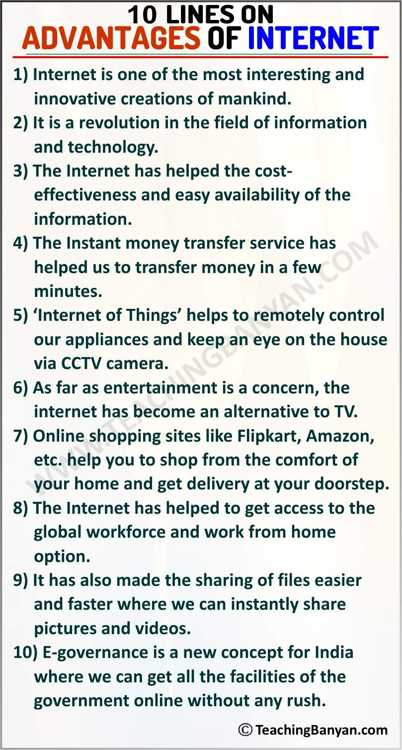 10 Lines on Advantages of Internet