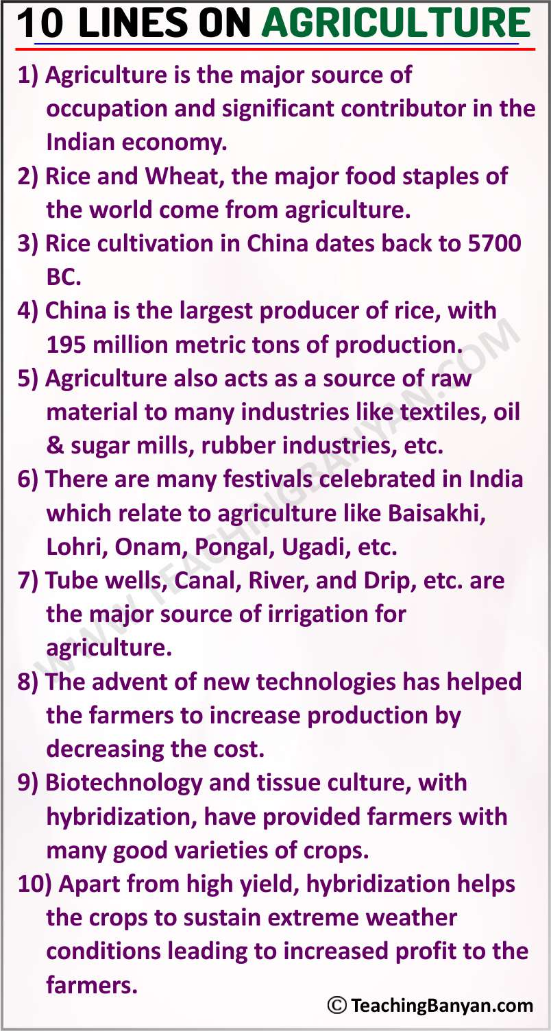 10 Lines on Agriculture