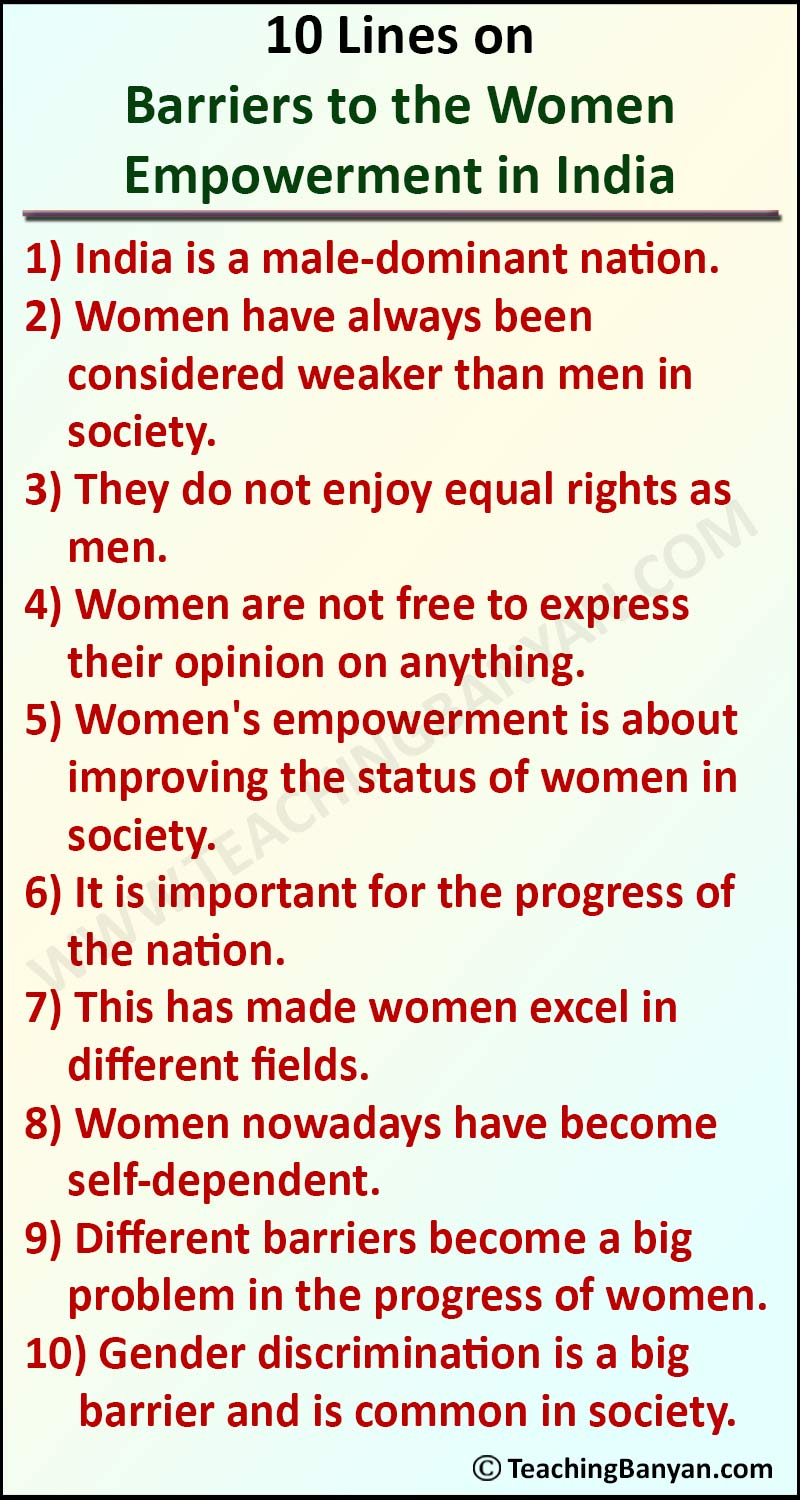 10 Lines on Barriers to the Women Empowerment in India