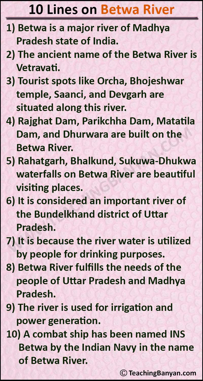 10 Lines on Betwa River