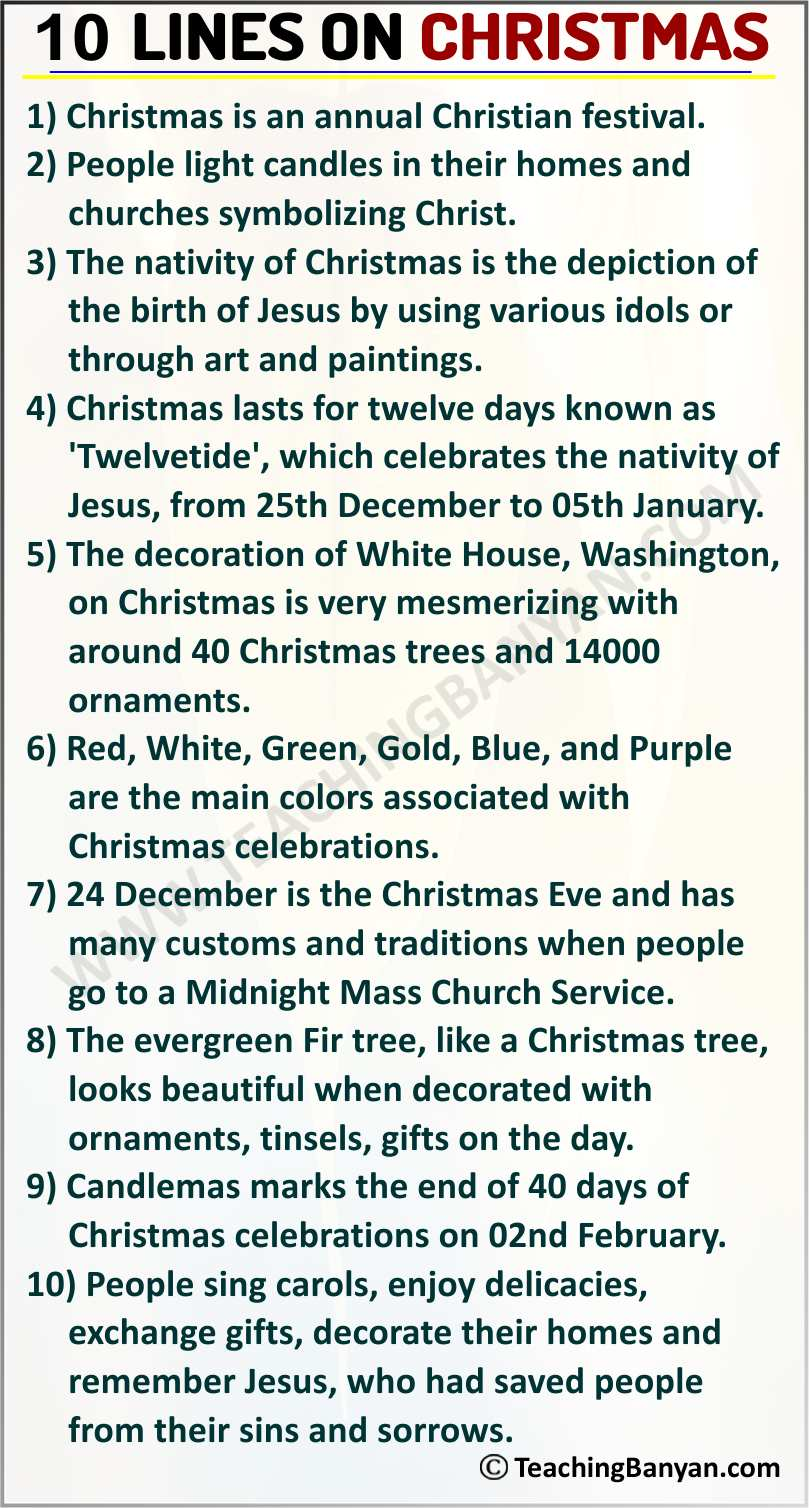10 Lines on Christmas Festival