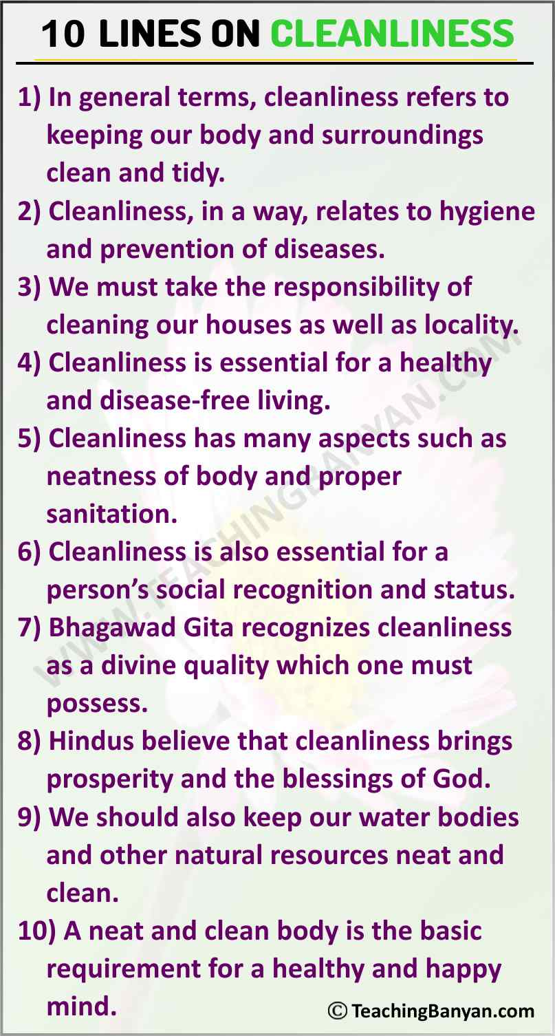 10 Lines on Cleanliness
