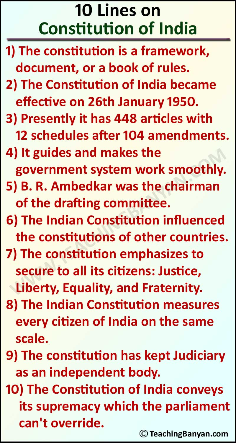 10 Lines on Constitution of India