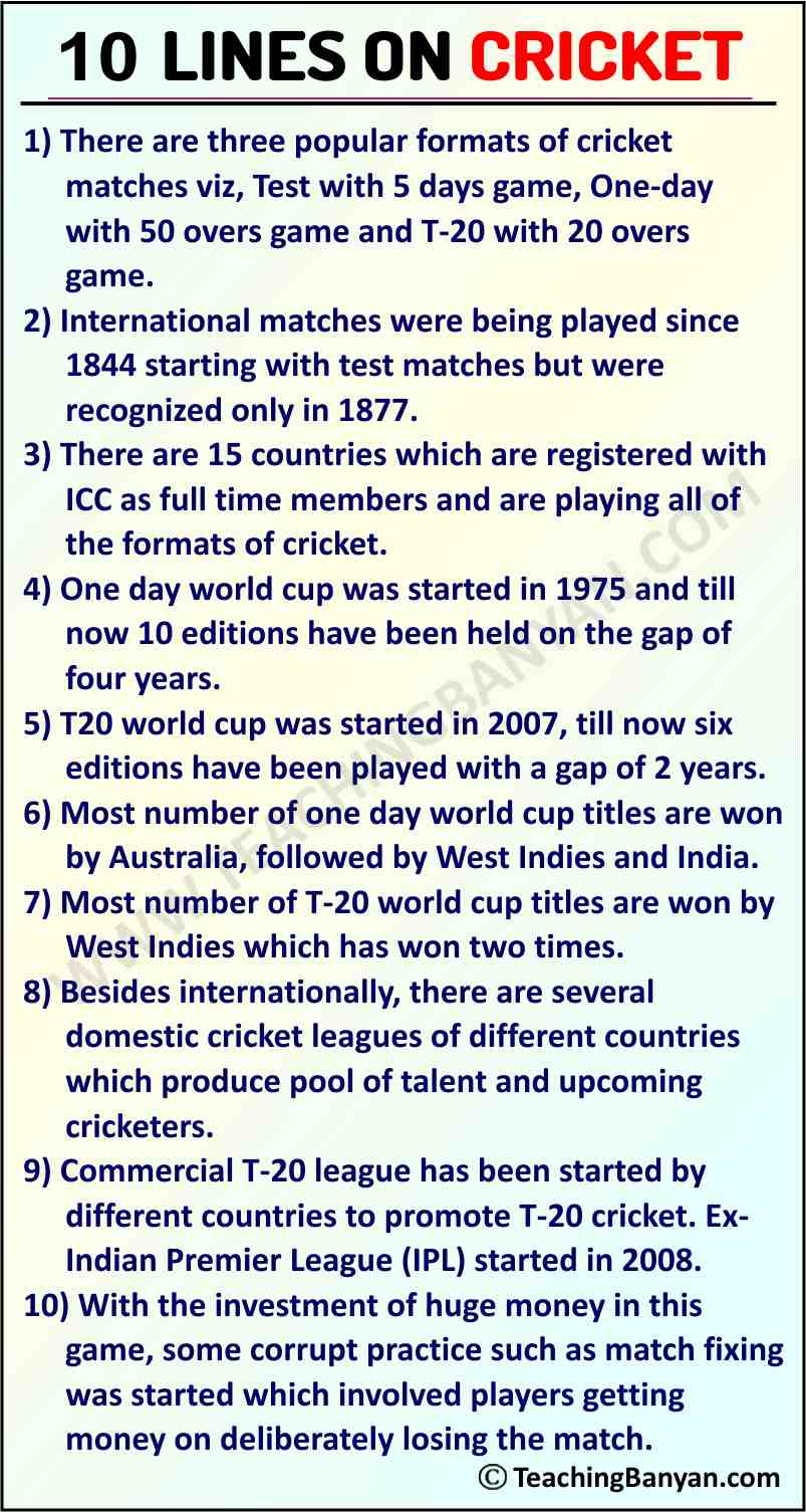 10 Lines on Cricket