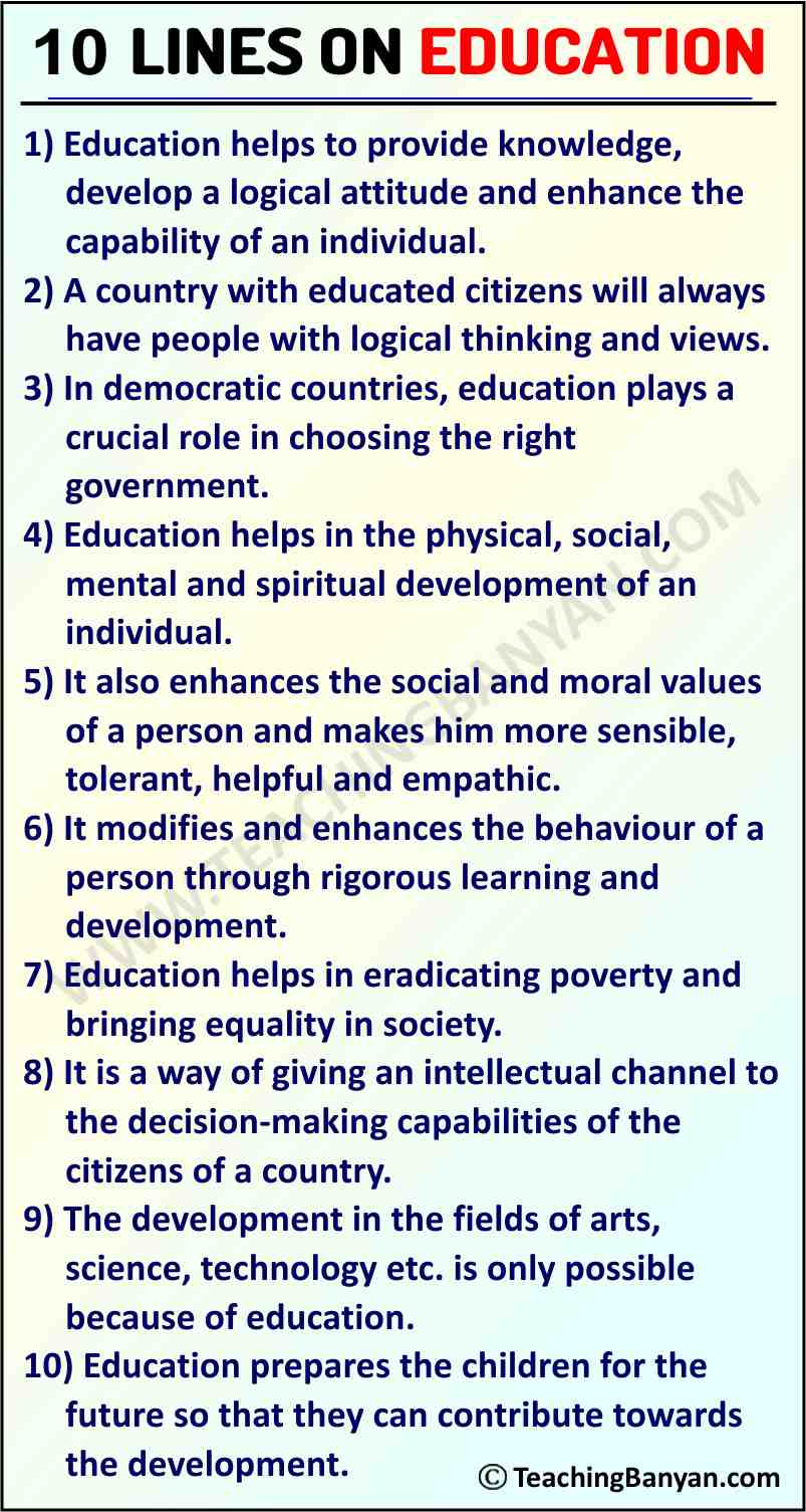 10 Lines on Education