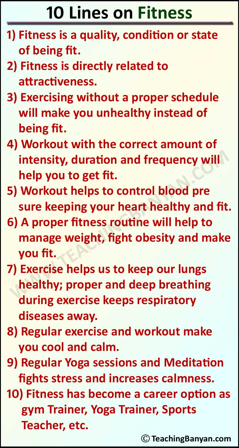 10 Lines on Fitness