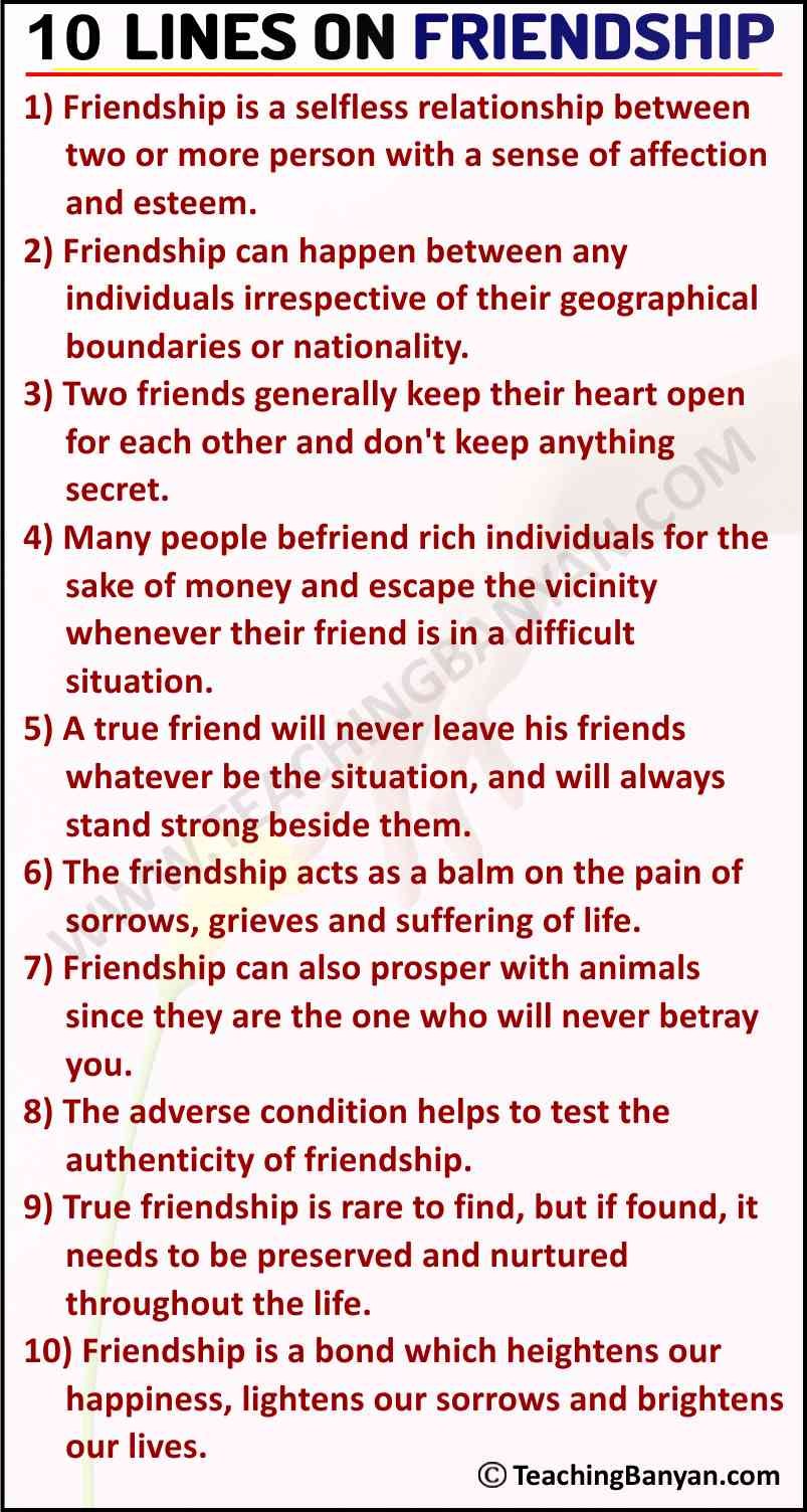 10 Lines on Friendship