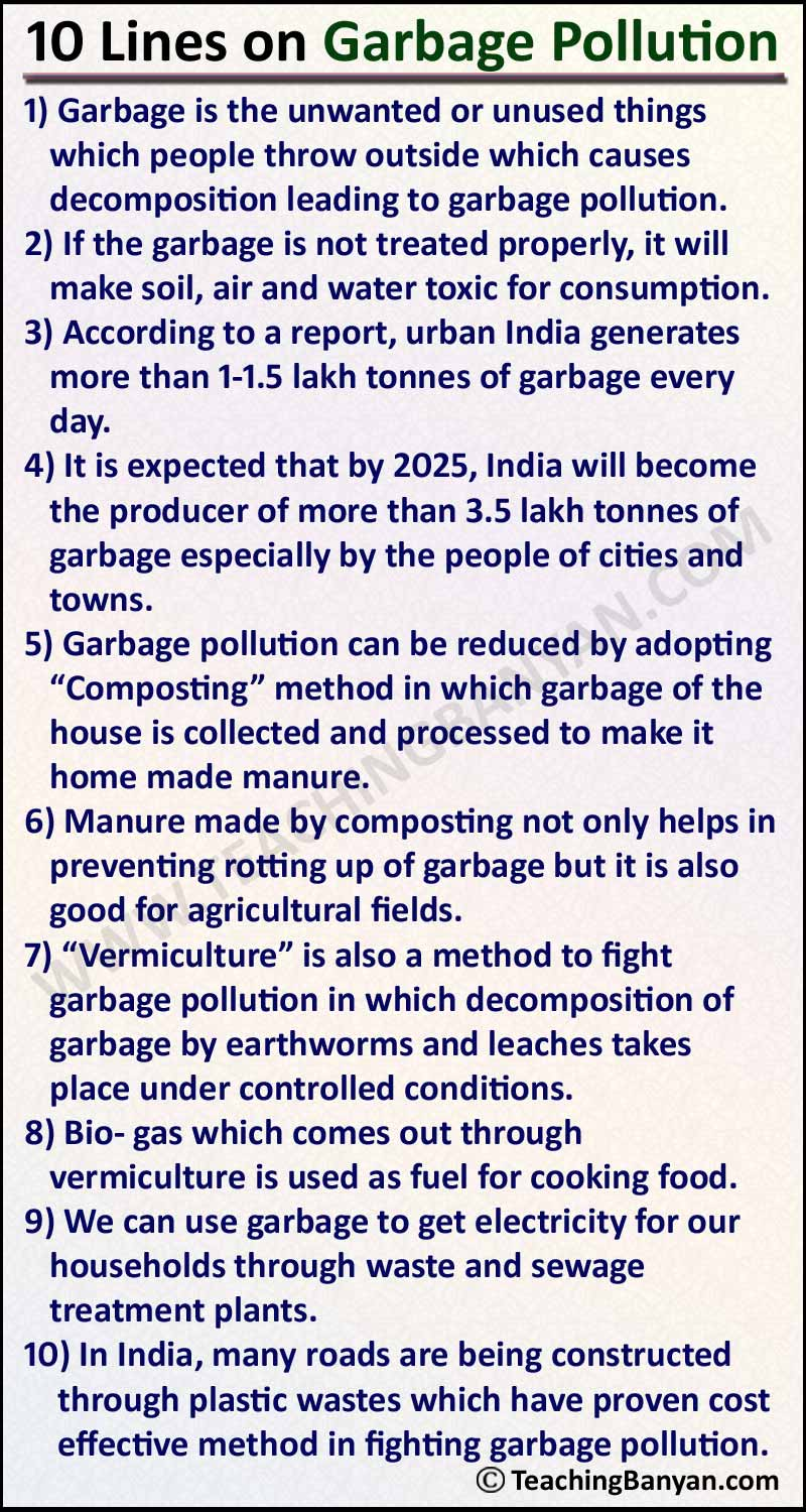 10 Lines on Garbage Pollution