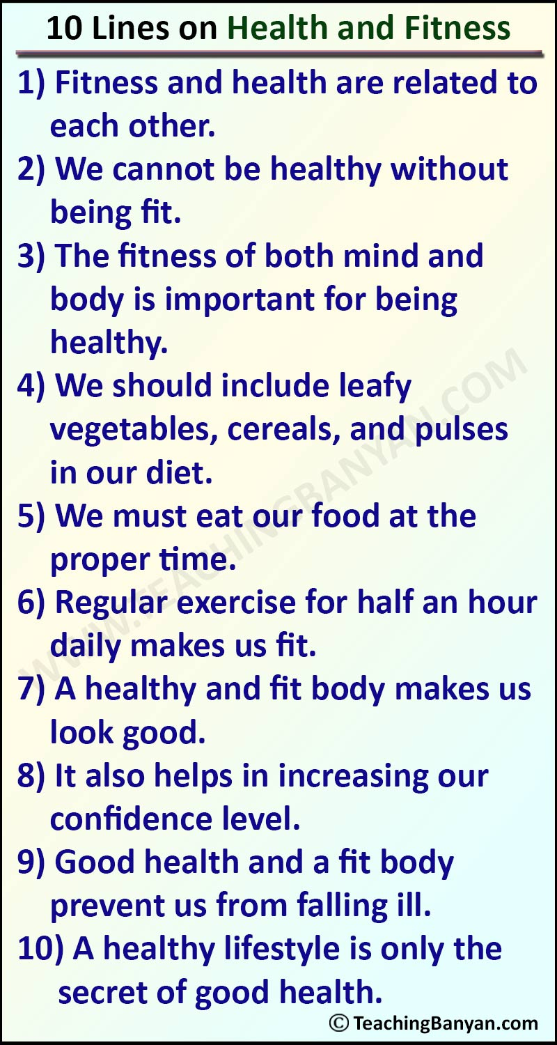 10 Lines on Health and Fitness
