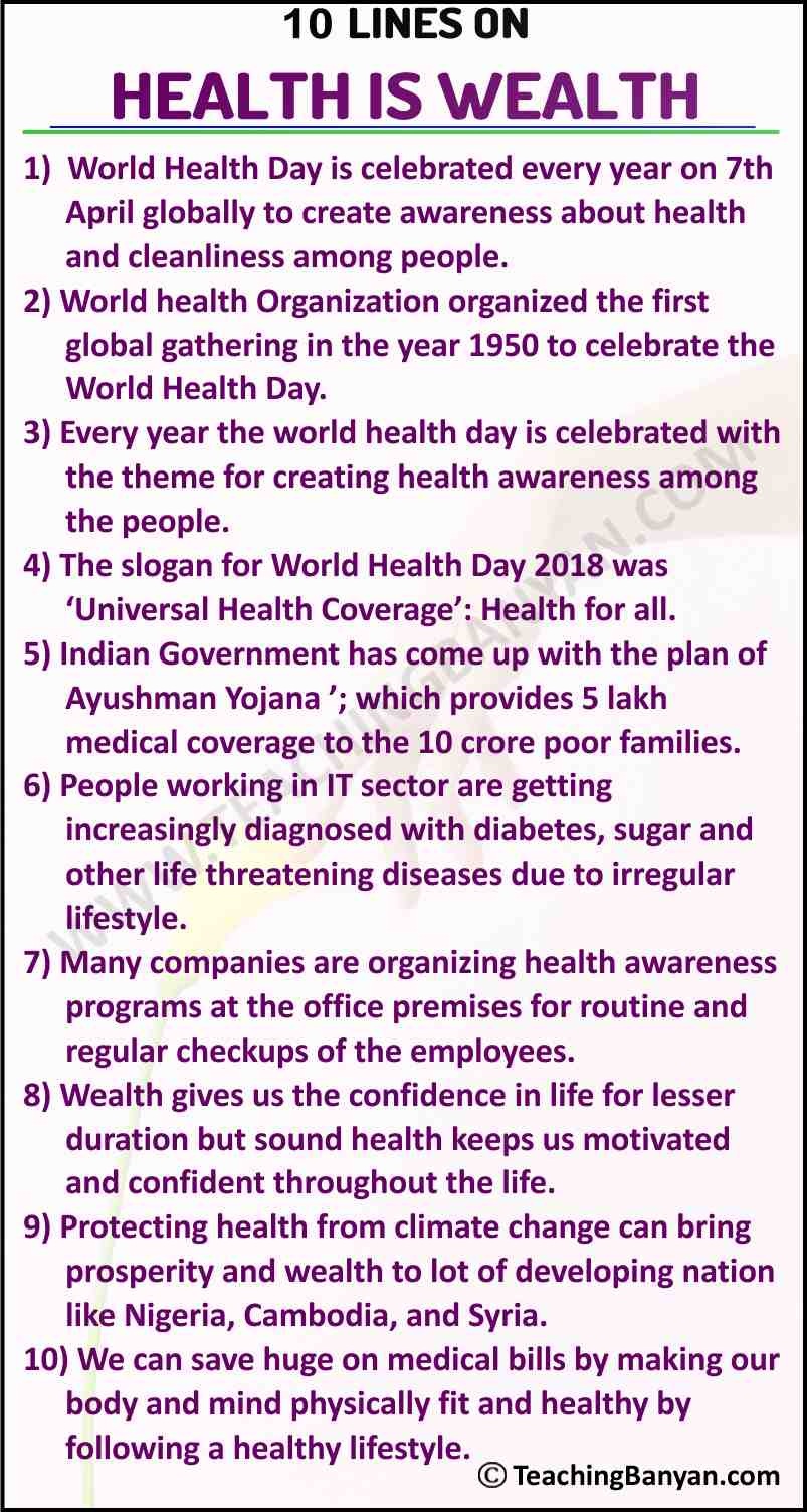 10 Lines on Health is Wealth