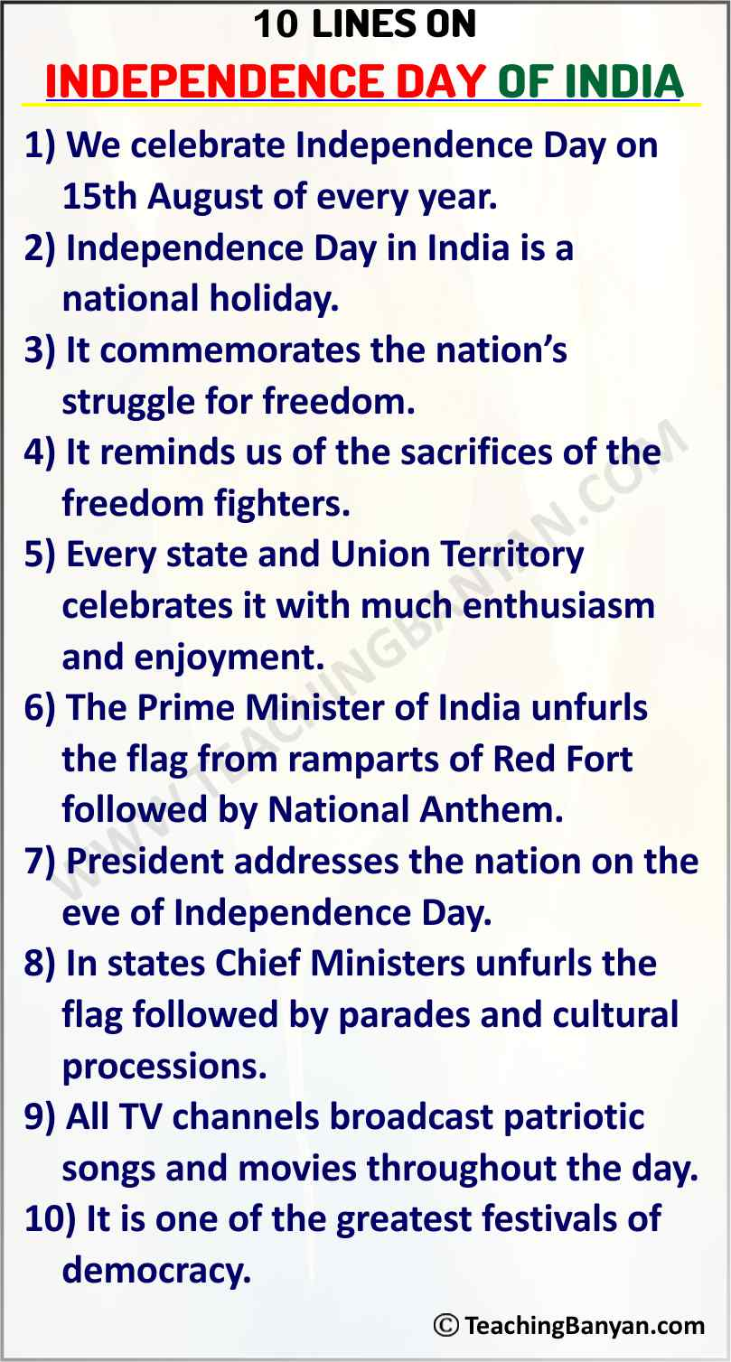10 Lines on Independence Day of India