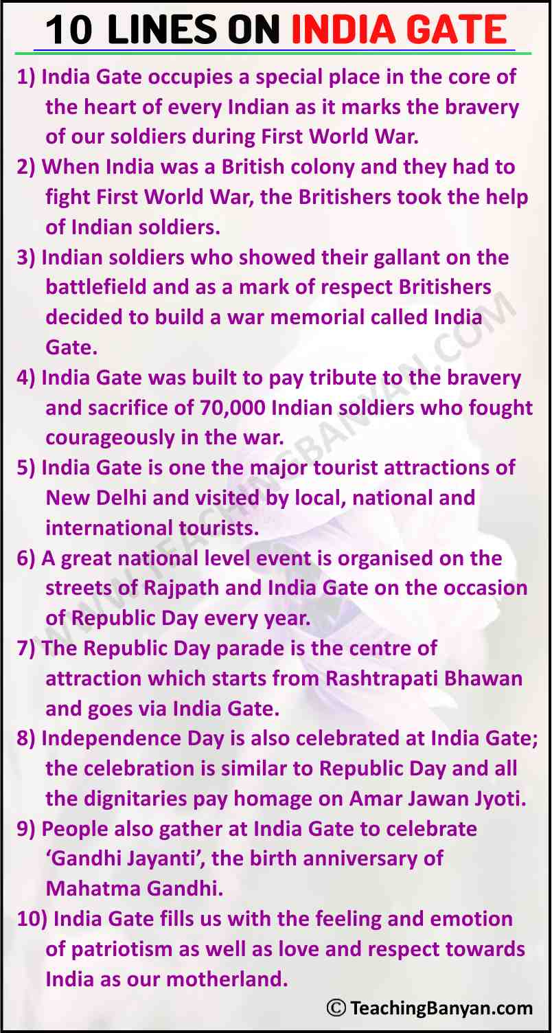 10 Lines on India Gate