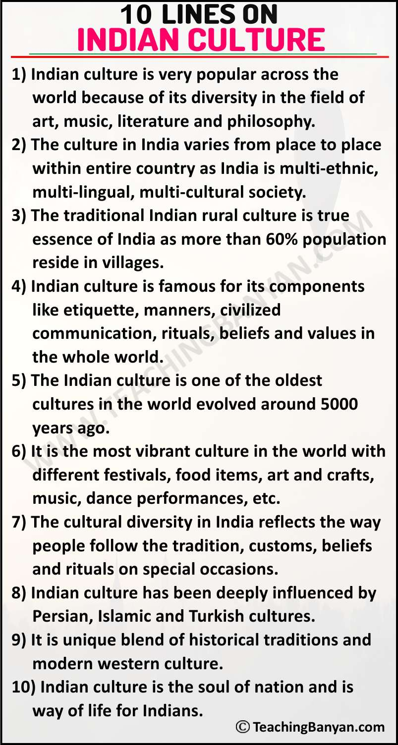 10 Lines on Indian Culture