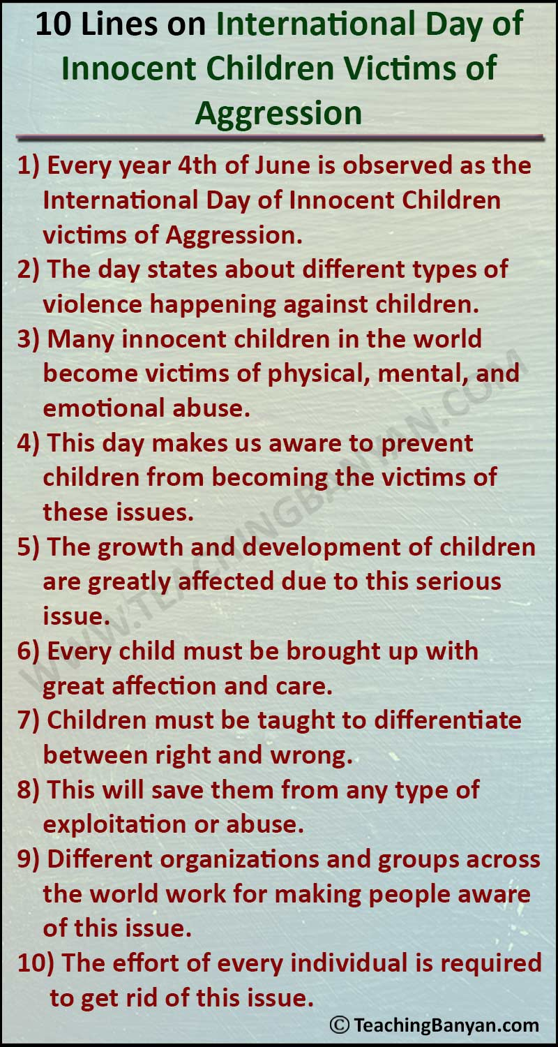 10 Lines on International Day of Innocent Children Victims of Aggression
