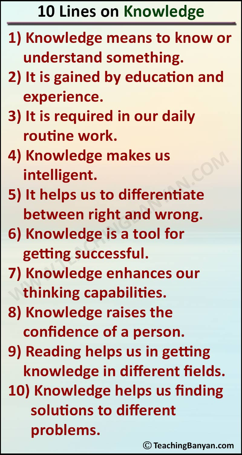 10 Lines on Knowledge