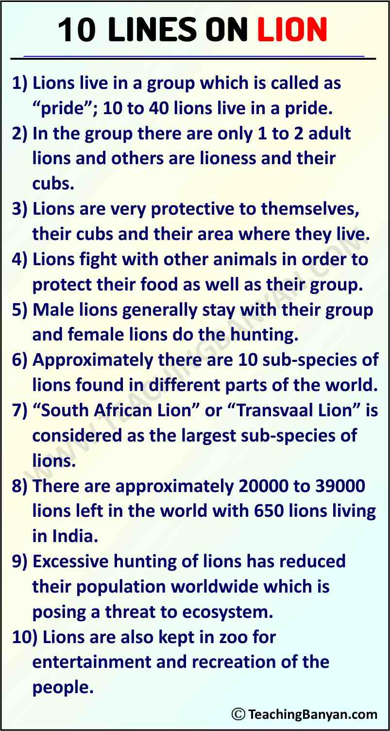 10 Lines on Lion