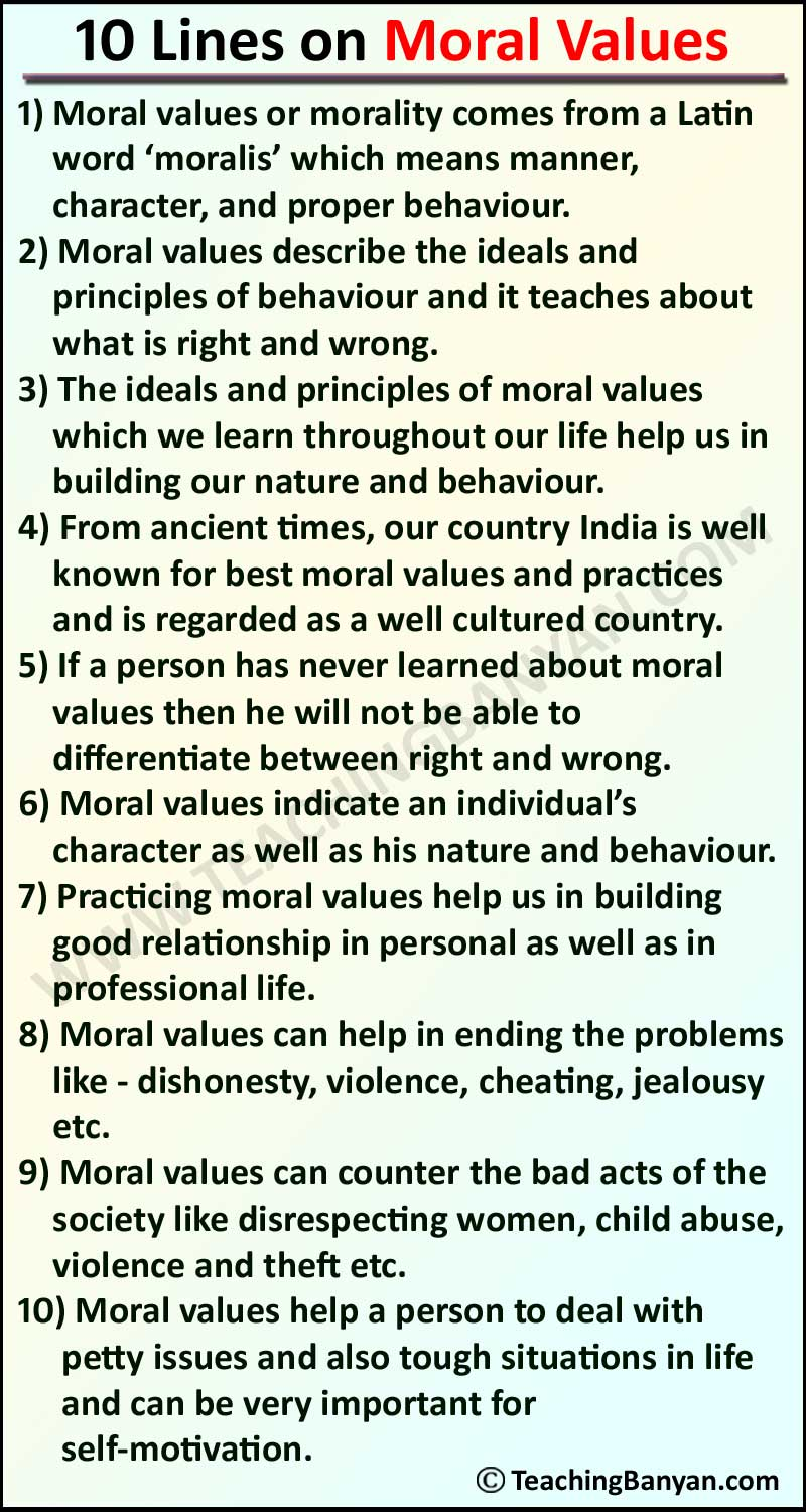 10 Lines on Moral Values