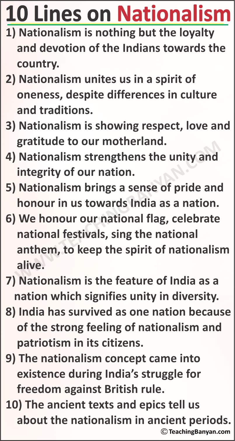 10 Lines on Nationalism