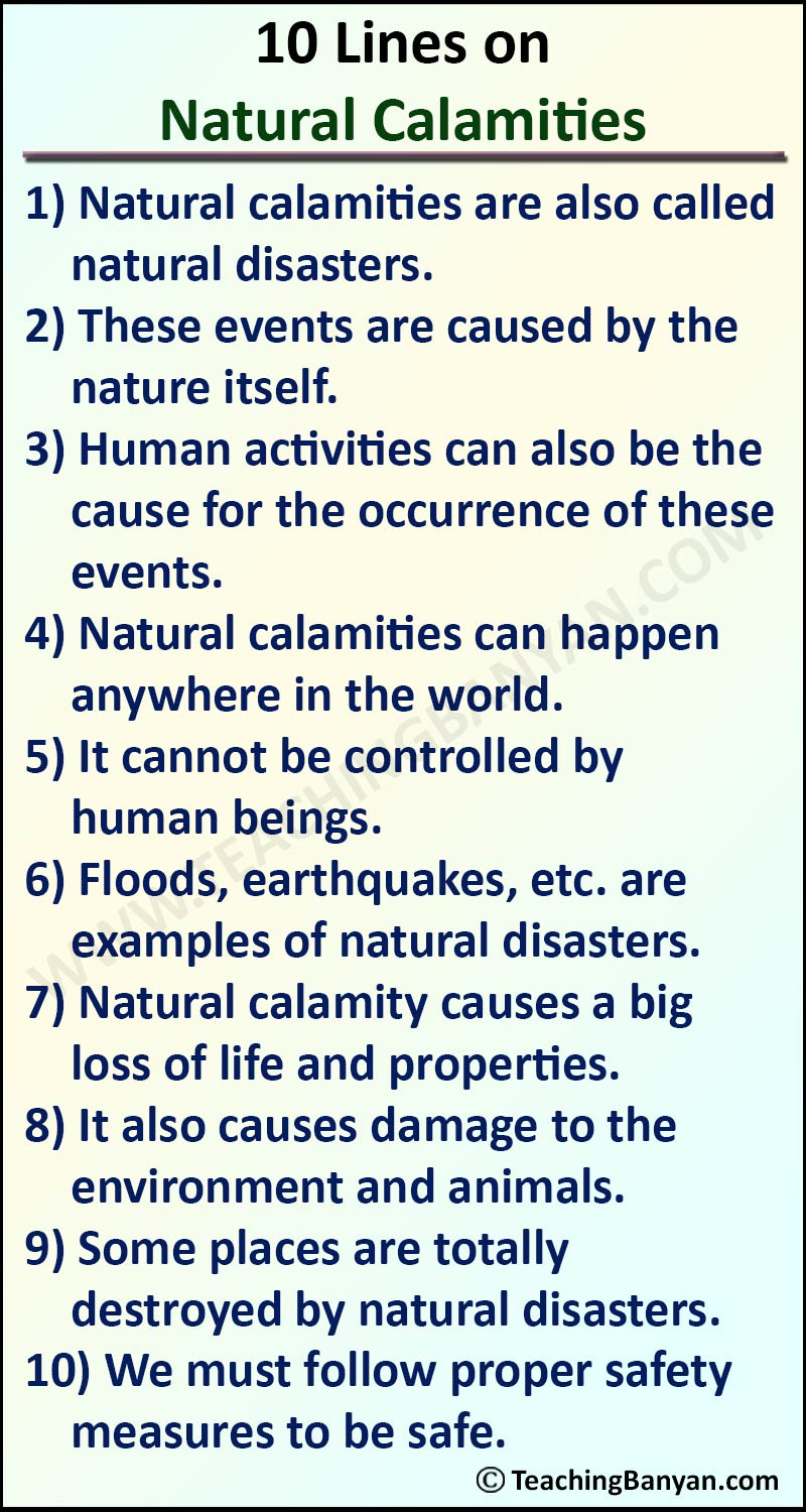 10 Lines on Natural Calamities