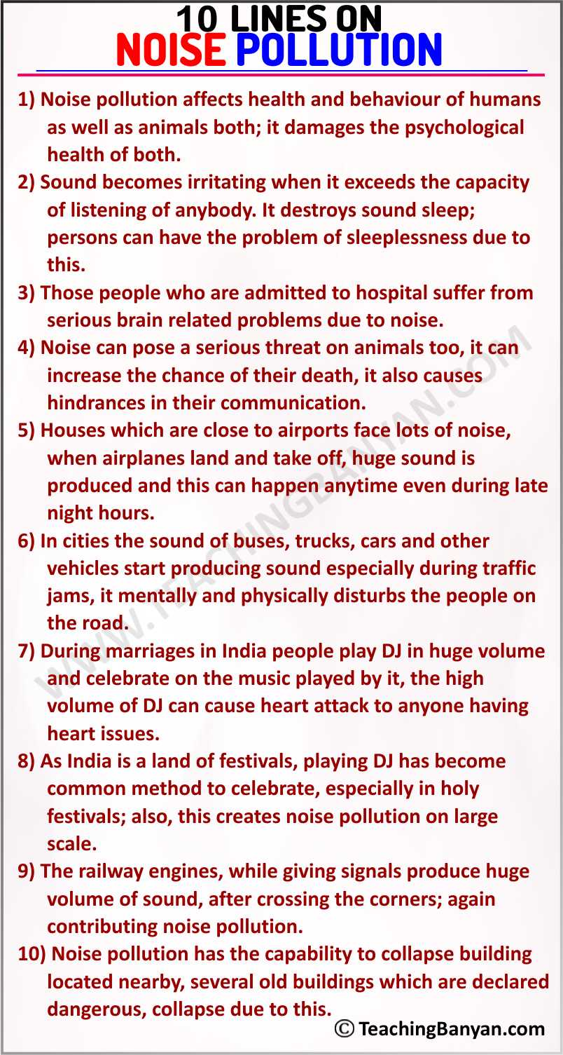 10 Lines on Noise Pollution