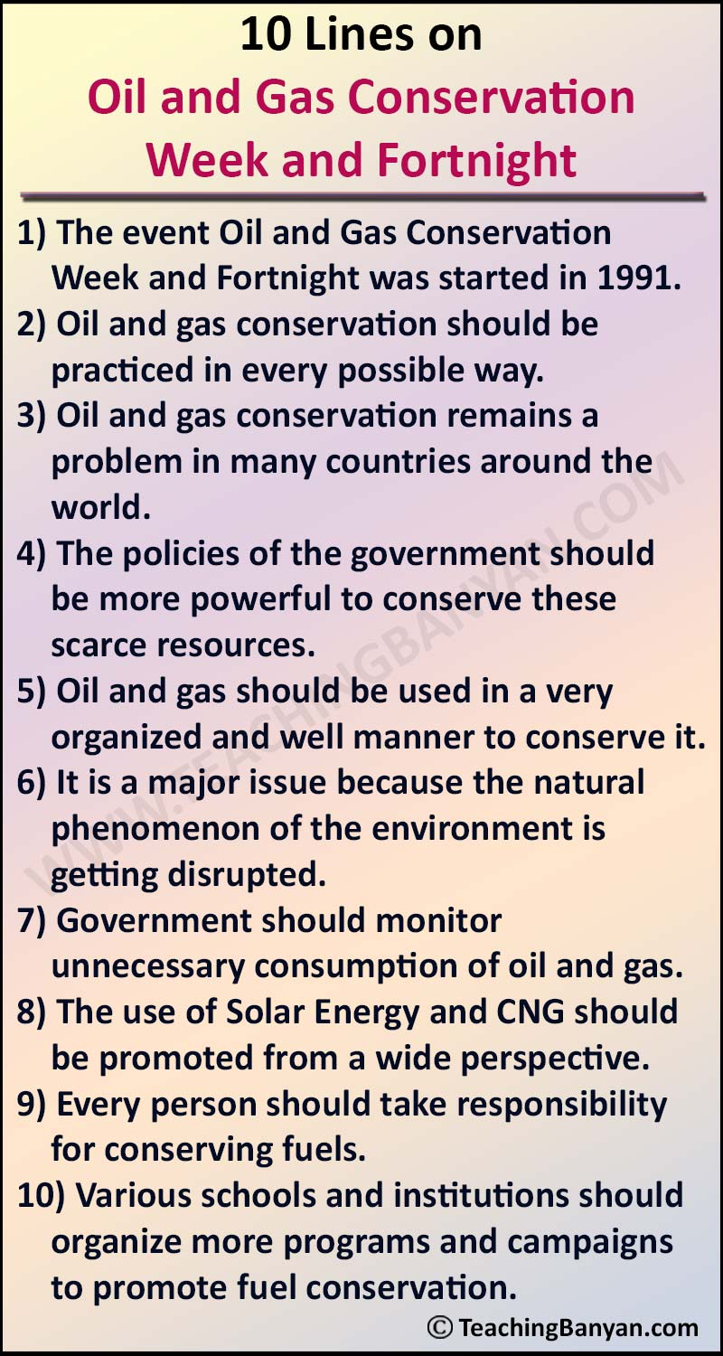 10 Lines on Oil and Gas Conservation Week and Fortnight