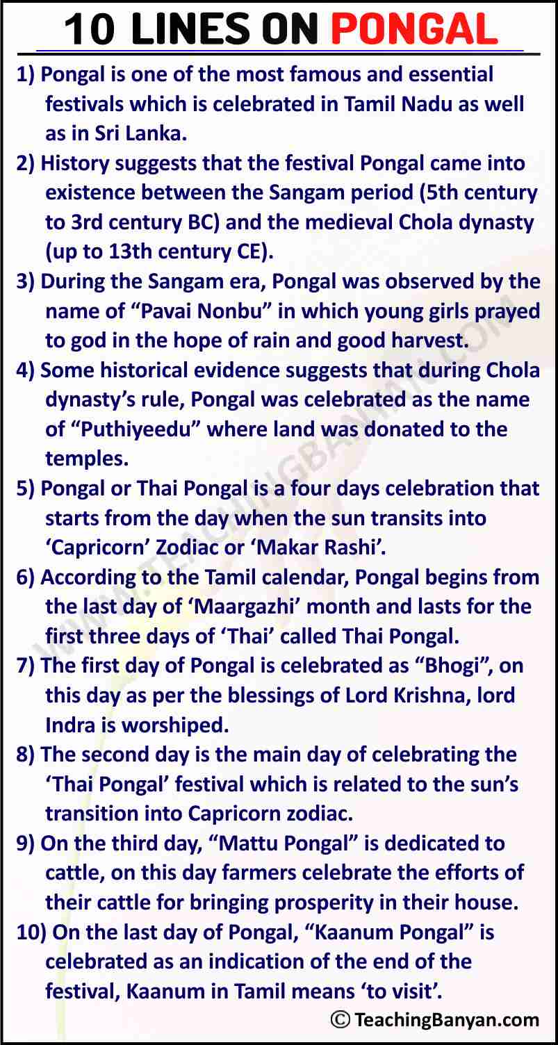 10 Lines on Pongal