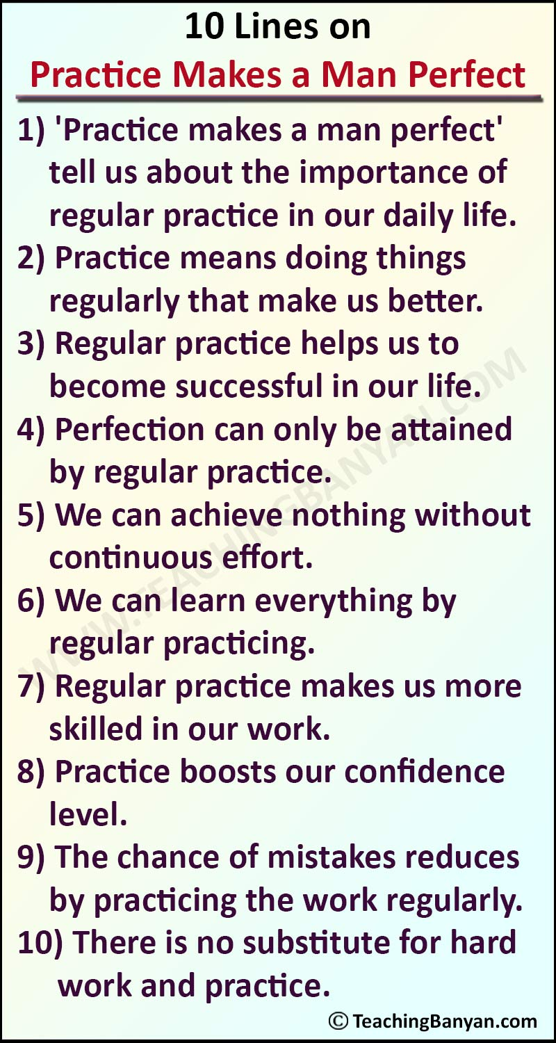 10 Lines on Practice Makes a Man Perfect
