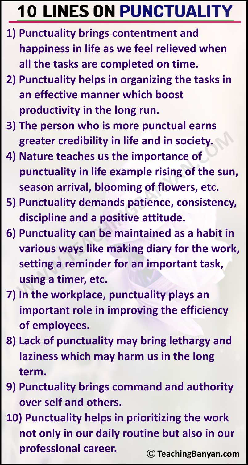 10 Lines on Punctuality