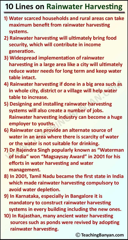 10 Lines on Rainwater Harvesting