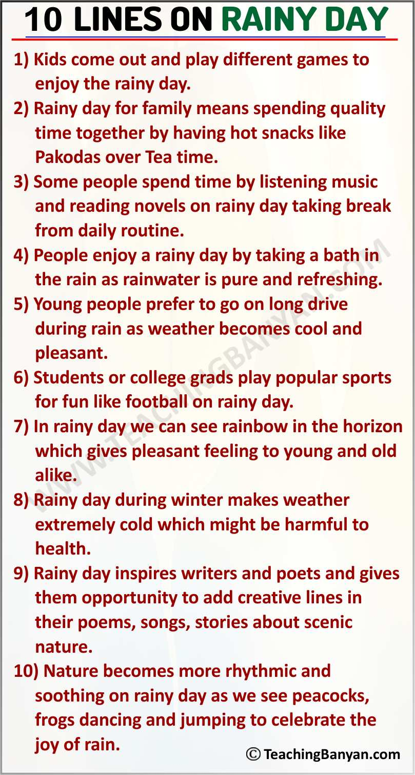 10 Lines on Rainy Day