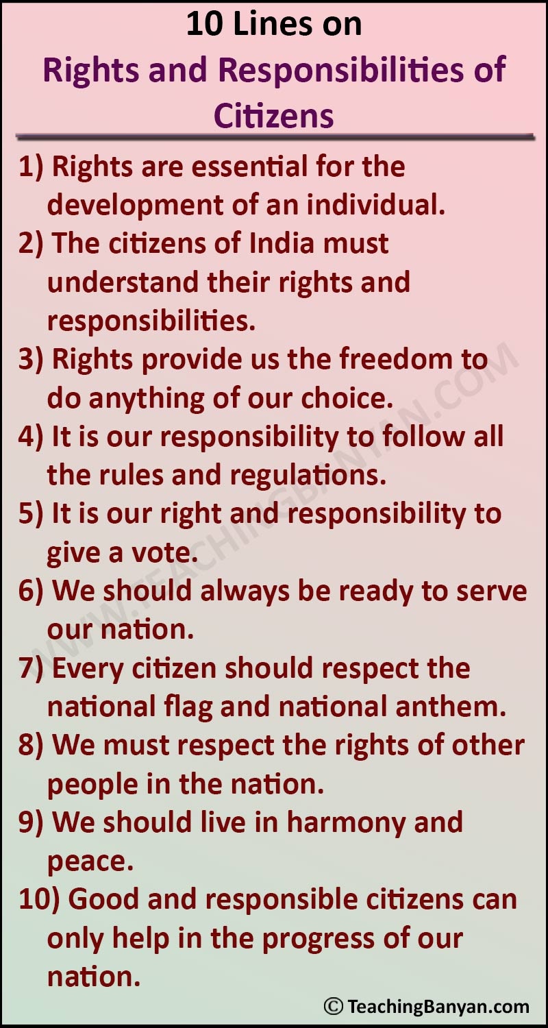 10 Lines on Rights and Responsibilities of Citizens
