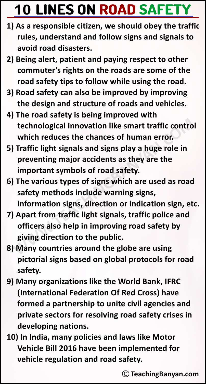 10 Lines on Road Safety