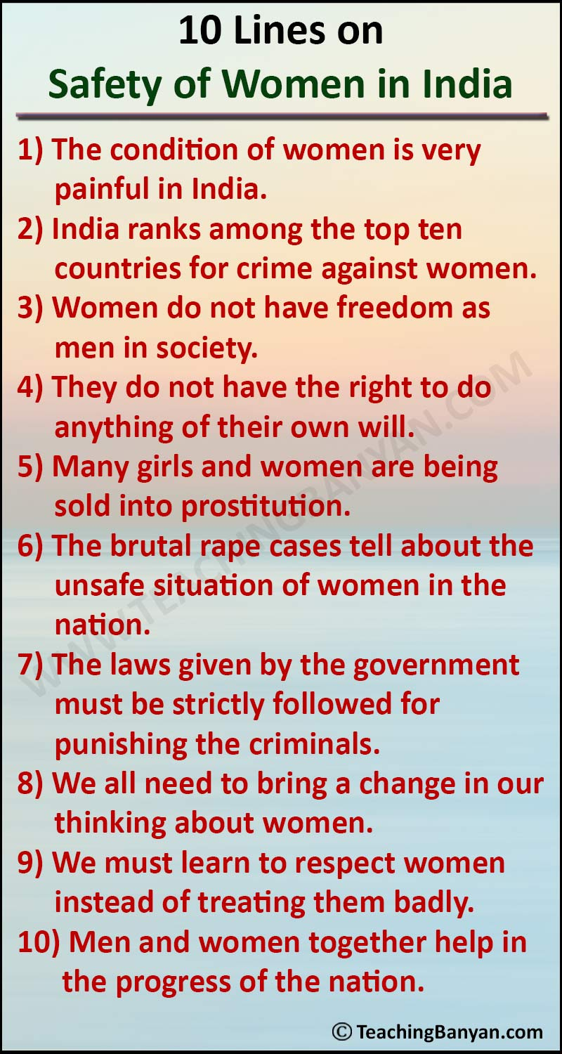 10 Lines on Safety of Women in India