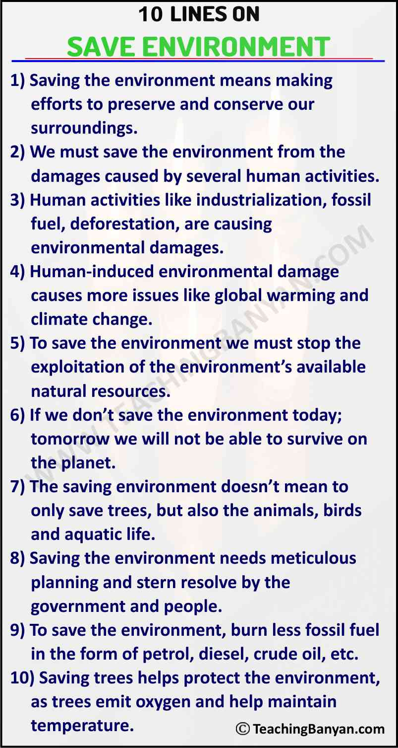 10 Lines on Save Environment