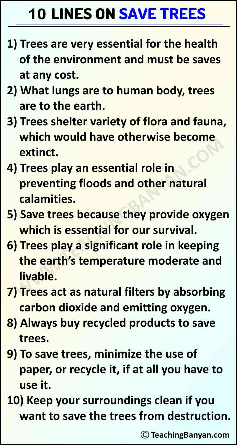 10 Lines on Save Trees