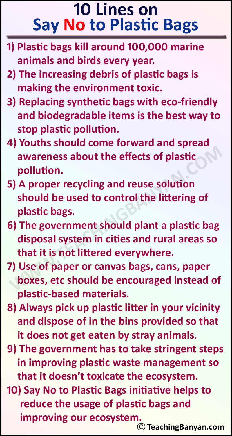 10 Lines on Say No to Plastic Bags
