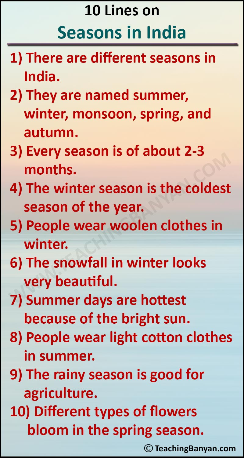 10 Lines on Seasons in India