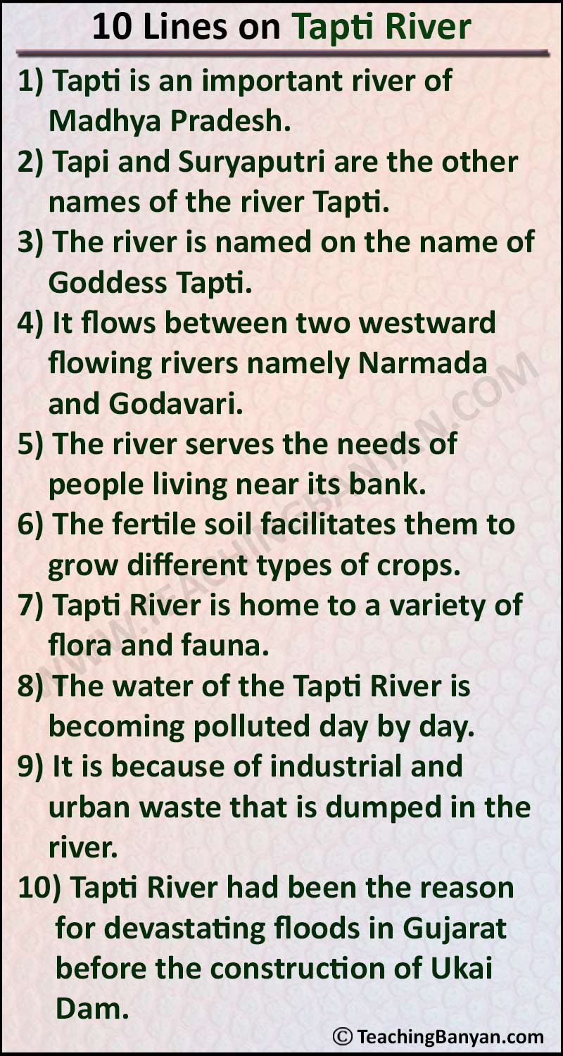 10 Lines on Tapti River