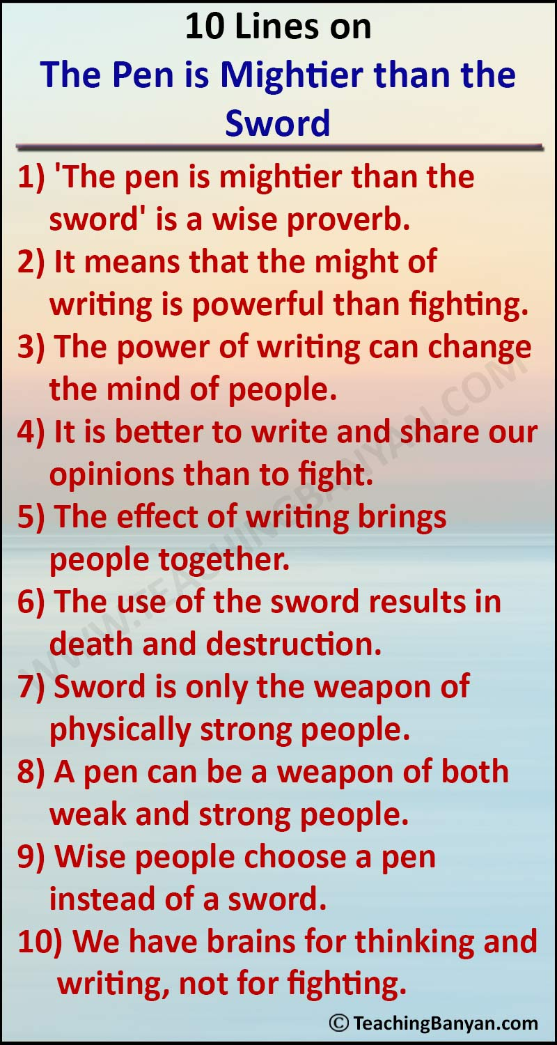 10 Lines on The Pen is Mightier than the Sword