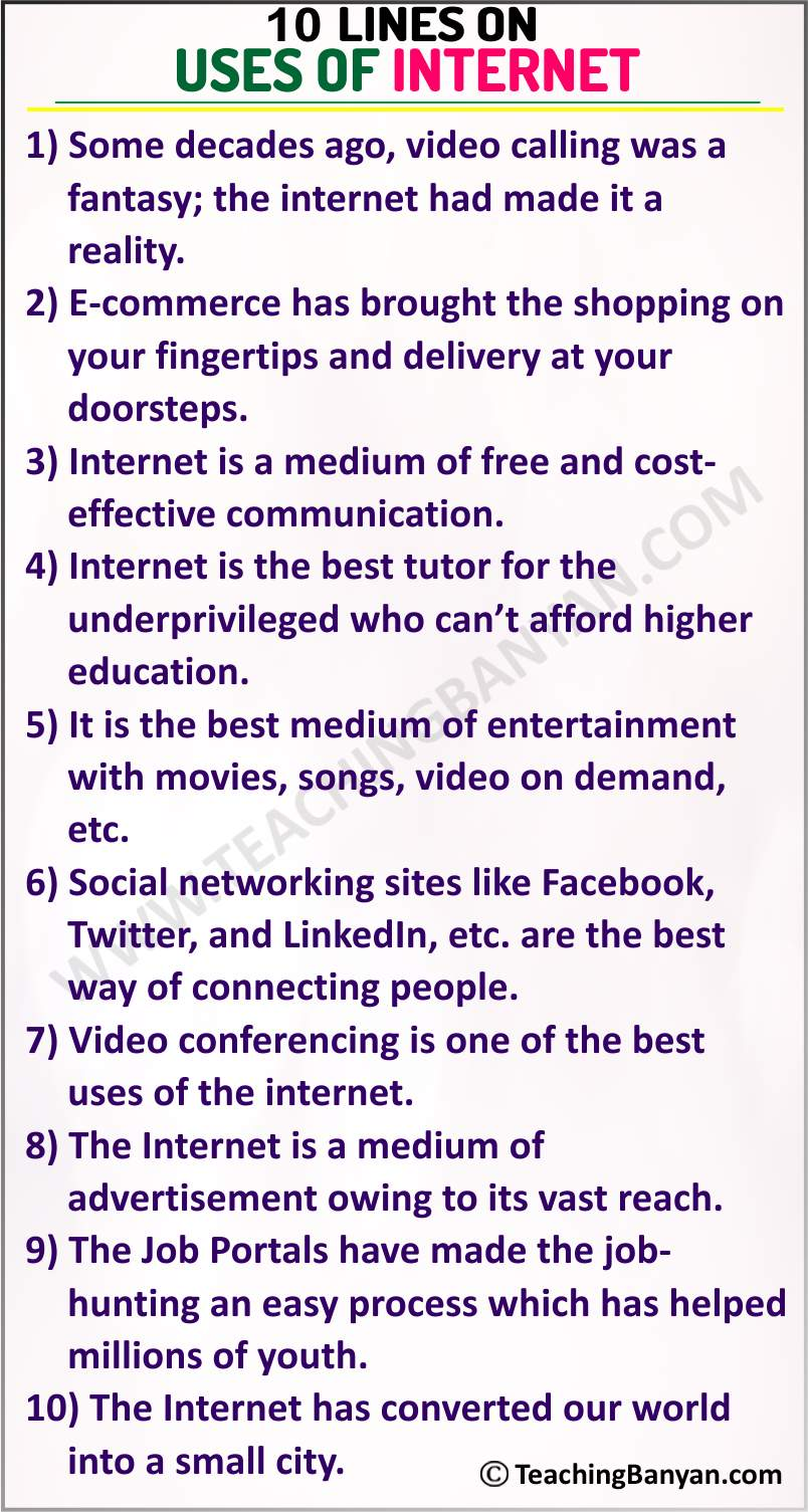 10 Lines on Uses of Internet