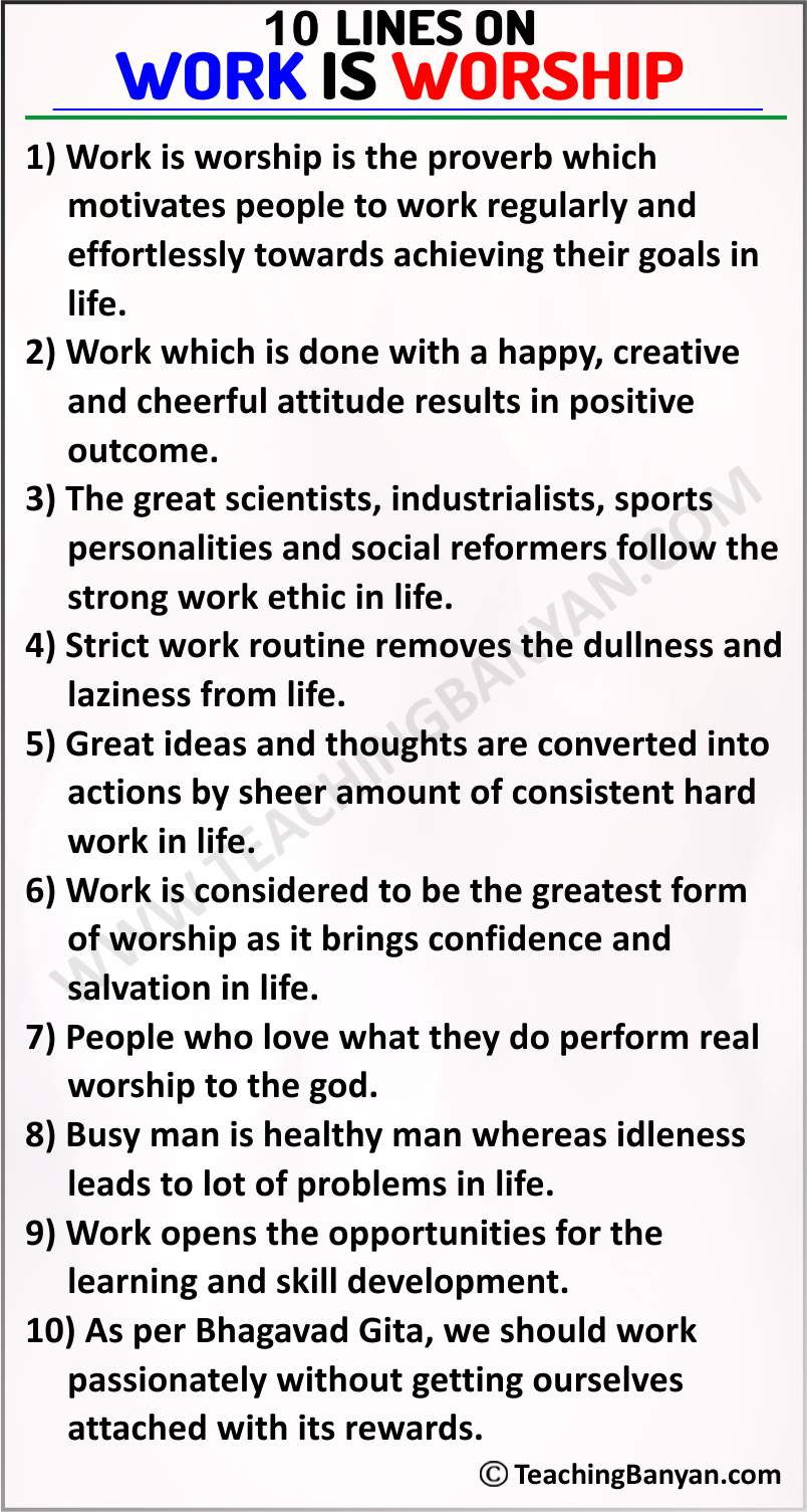 10 Lines on Work is Worship