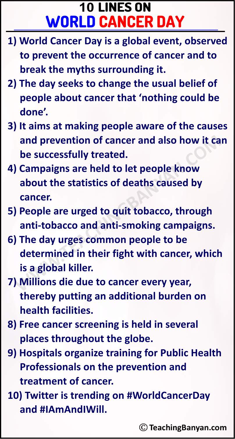 10 Lines on World Cancer Day