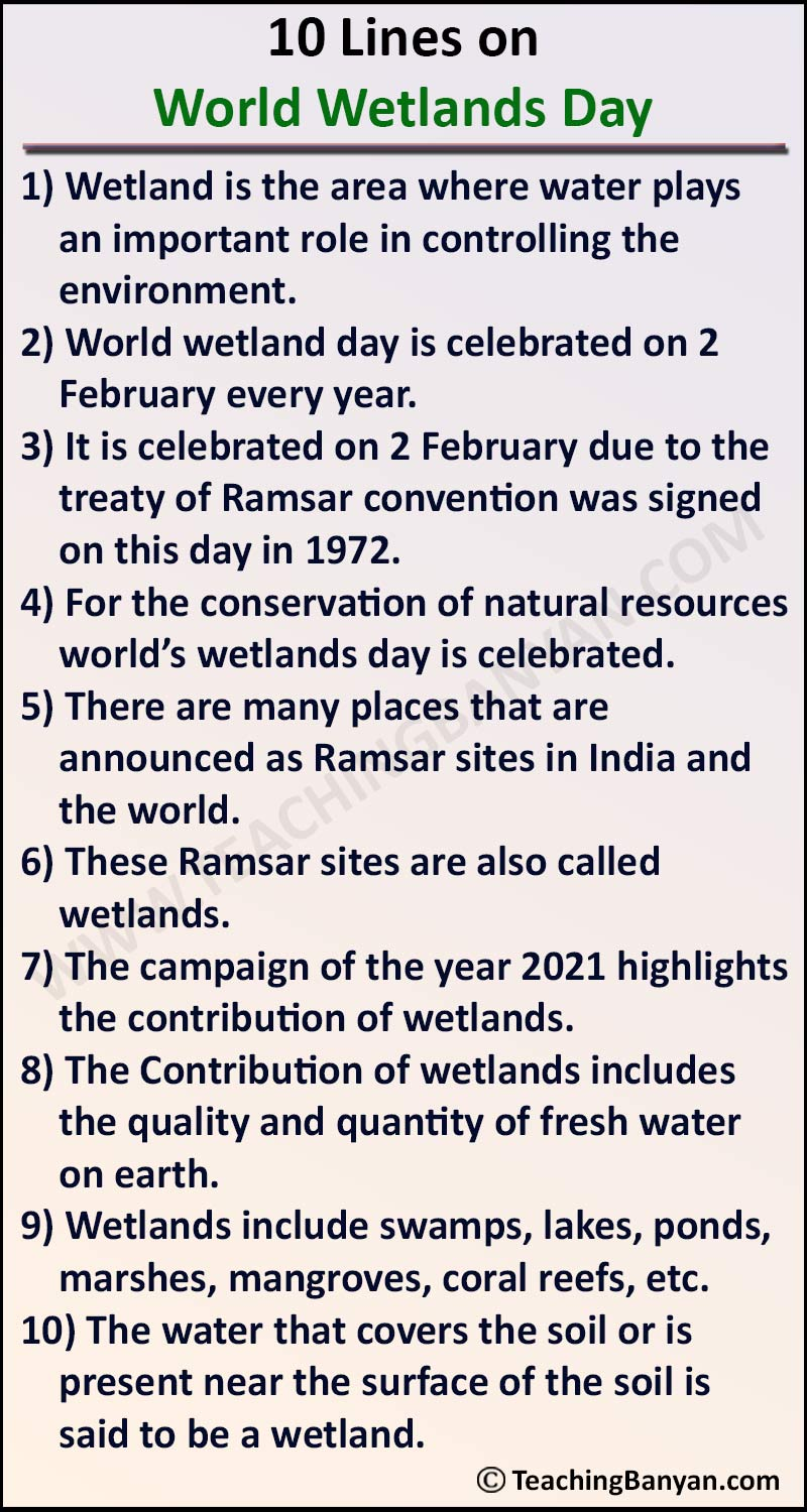 10 Lines on World Wetlands Day