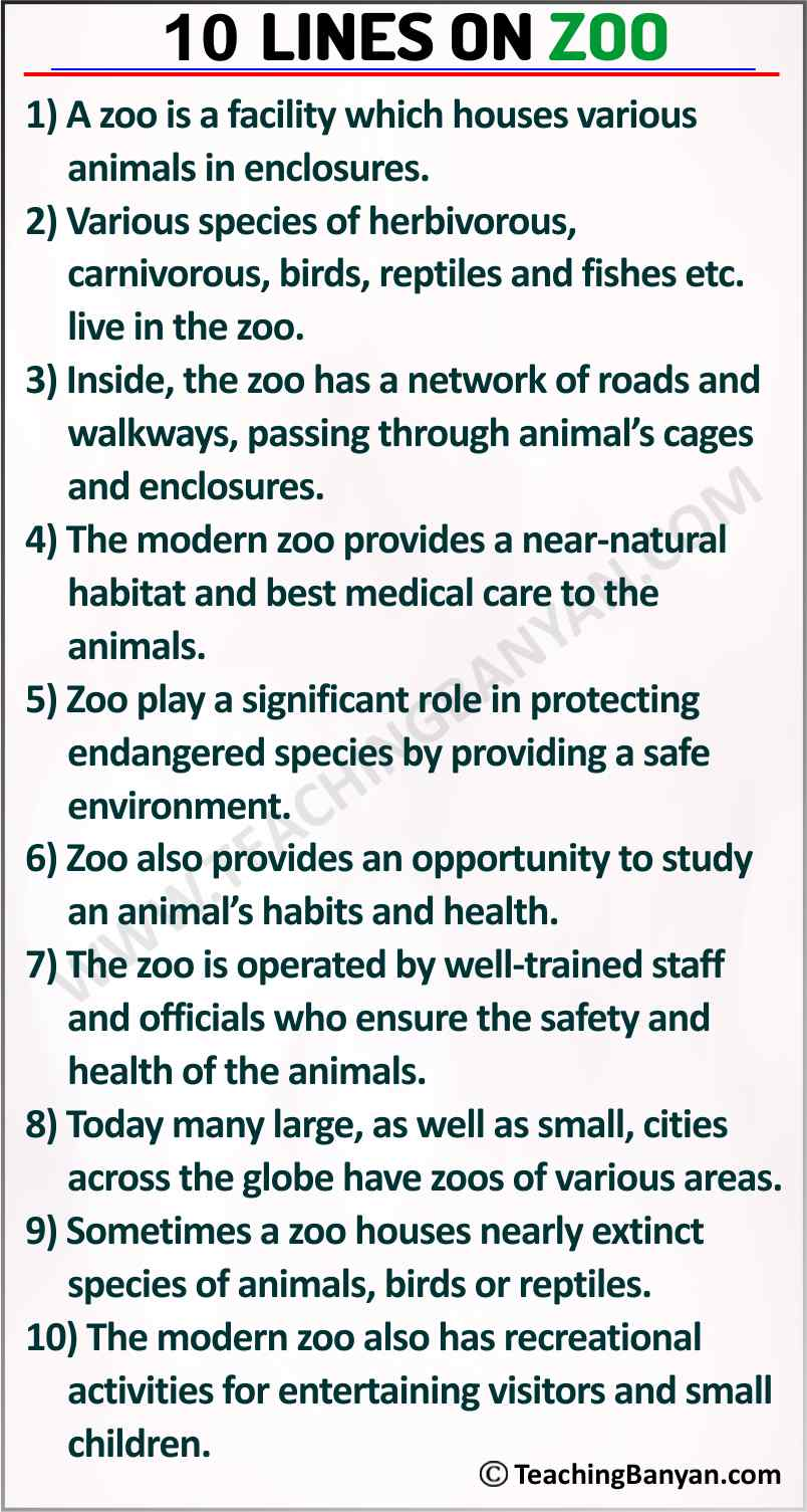 10 Lines on Zoo
