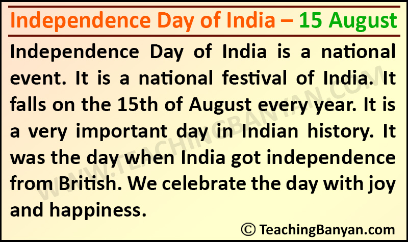 Independence Day of India – 15 August